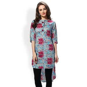 Sky Blue High Low Style Printed Kurta