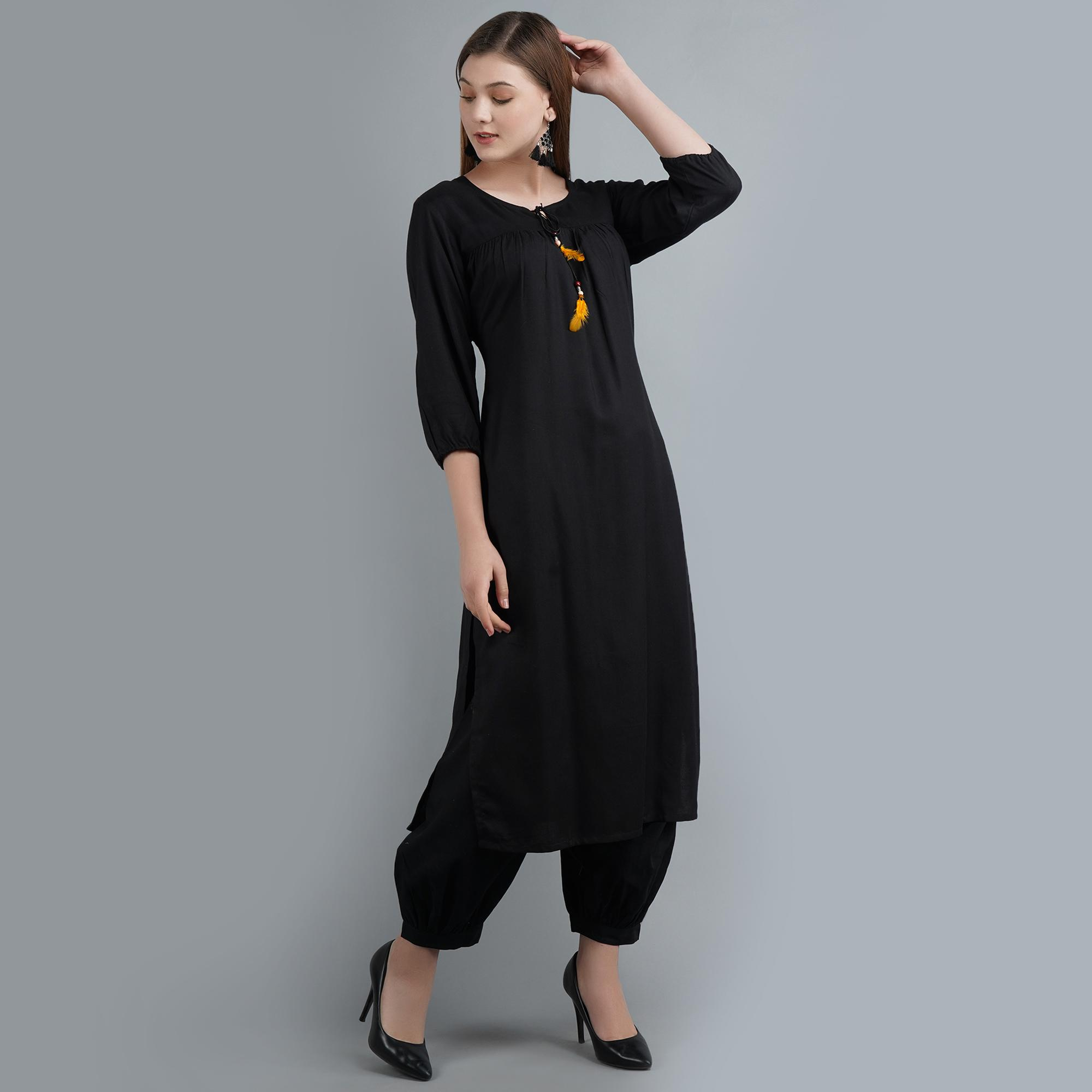 Eye-catching Black Colored Casual Wear Rayon Kurti