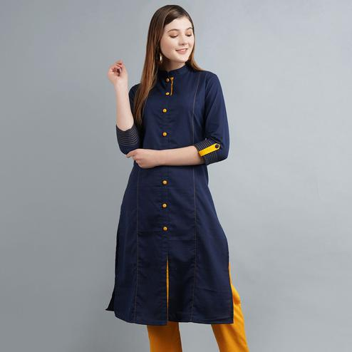 Gorgeous Navy Blue Colored Casual Wear Cotton Kurti