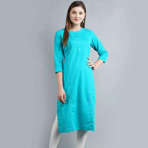 Lovely Aqua Blue Colored Casual Wear Cotton Kurti