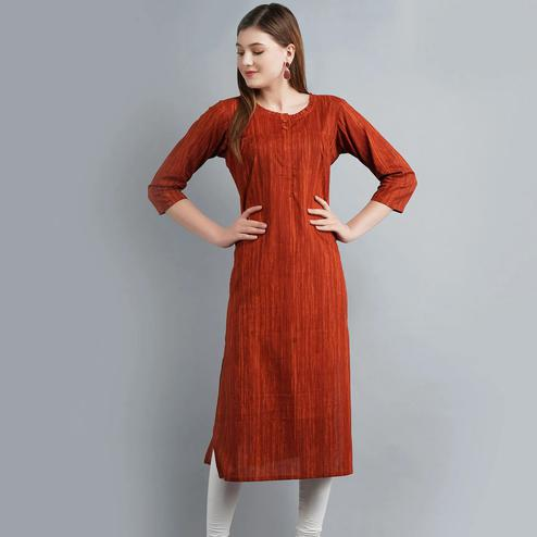 Impressive Brown Colored Casual Wear Cotton Kurti