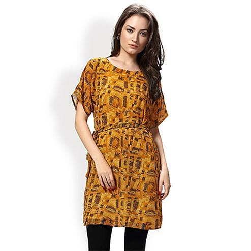 Mustard Color Western Printed Top