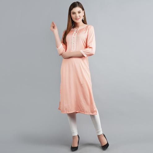 Pleasance Peach Colored Casual Wear Rayon Kurti