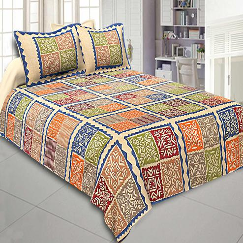 Intricate Multi Colored Printed Cotton Double Bedsheet With Cushion Cover