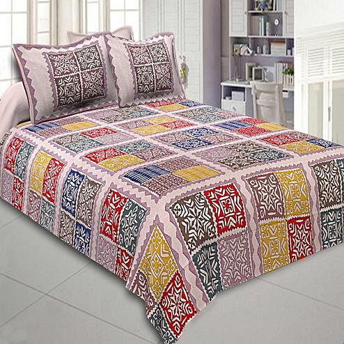 Arresting Multi Colored Printed Cotton Double Bedsheet With Cushion Cover