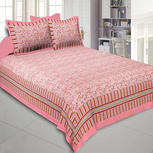 Desirable Pink Colored Printed Cotton Double Bedsheet With Cushion Cover