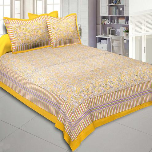 Exotic Yellow Colored Printed Cotton Double Bedsheet With Cushion Cover