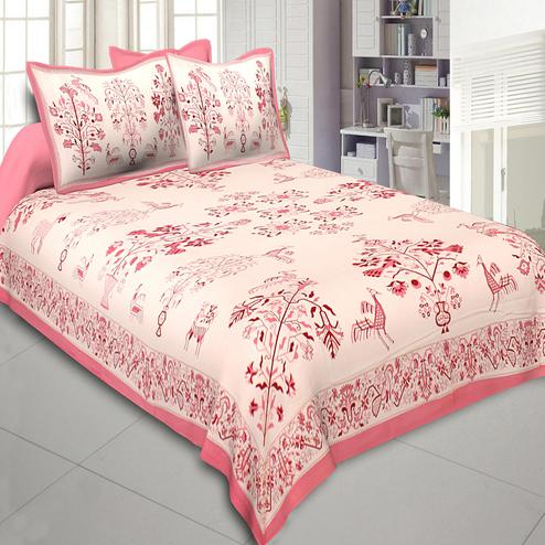 Sophisticated Beige-Pink Colored Printed Cotton Double Bedsheet With Cushion Cover