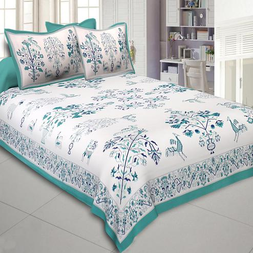 Trendy Green Colored Printed Cotton Double Bedsheet With Cushion Cover