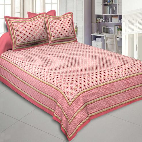Elegant Pink Colored Printed Cotton Double Bedsheet With Cushion Cover