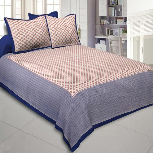 Pleasant Orange-Blue Colored Printed Cotton Double Bedsheet With Cushion Cover