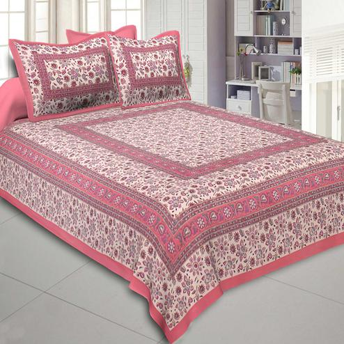 Energetic Pink Colored Printed Cotton Double Bedsheet With Cushion Cover