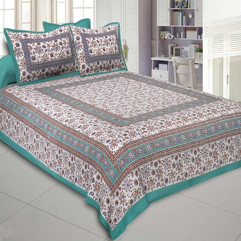 Glowing Green Colored Printed Cotton Double Bedsheet With Cushion Cover