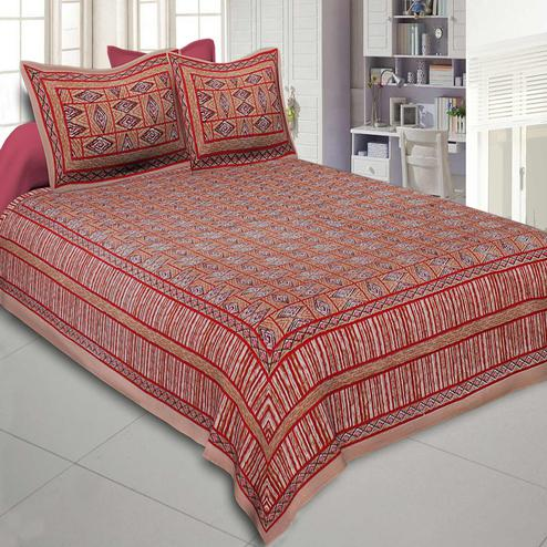 Exceptional Orange-Red Colored Printed Cotton Double Bedsheet With Cushion Cover
