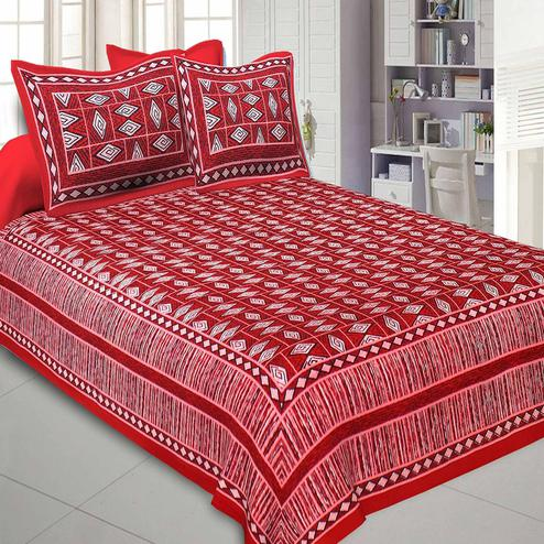 Gleaming Red Colored Printed Cotton Double Bedsheet With Cushion Cover