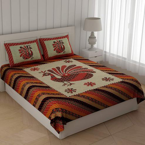 Mesmeric Multi Colored Ajrak Peacock Printed Cotton Double Bedsheet With Cushion Cover