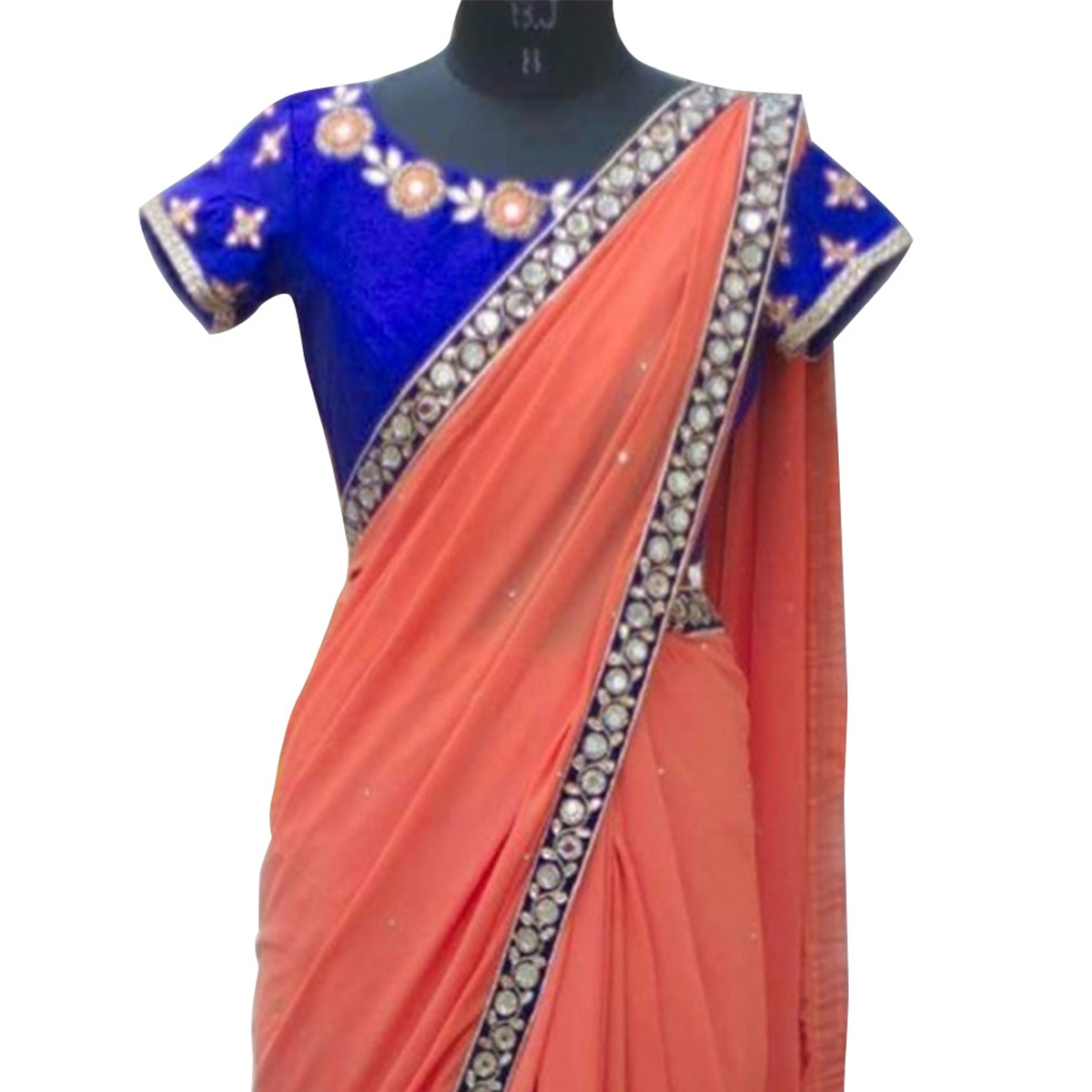 Peach Thread Border Work Georgette Saree