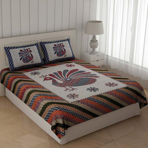 Unique Multi Colored Ajrak Peacock Printed Cotton Double Bedsheet With Cushion Cover