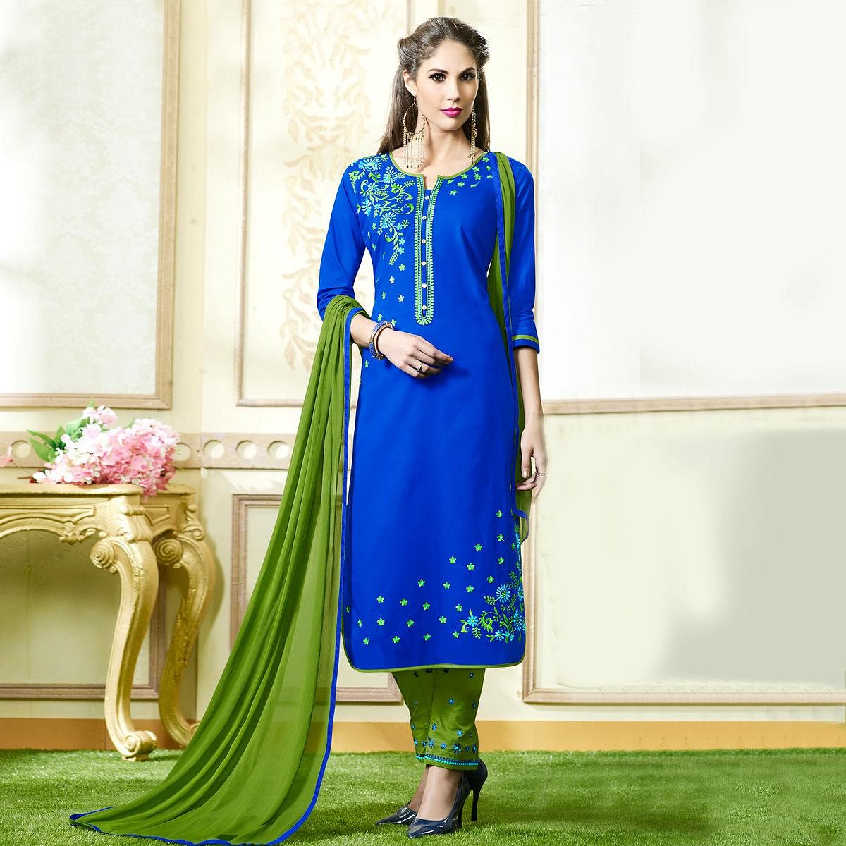 Blue Embroidered Work Cotton Dress Material