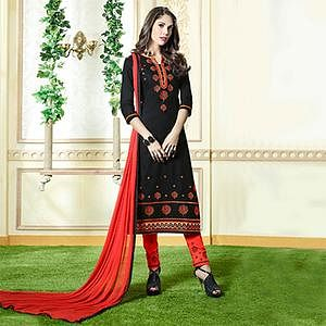 Black Embroidered Work Dress Material