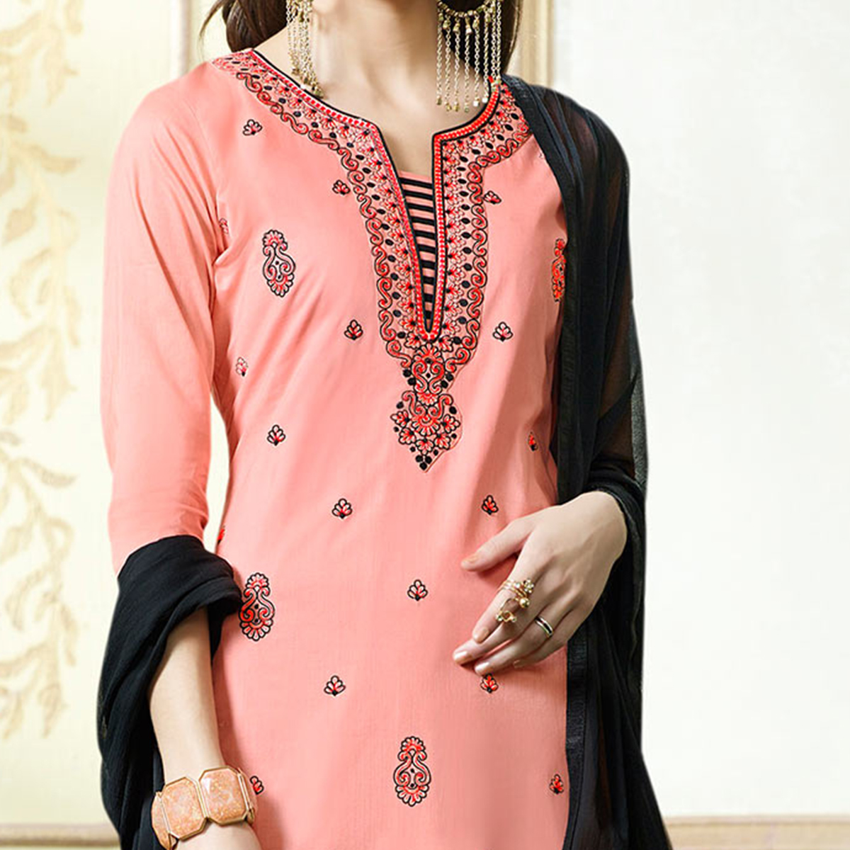 Peach - Black Embroidered Work Dress Material