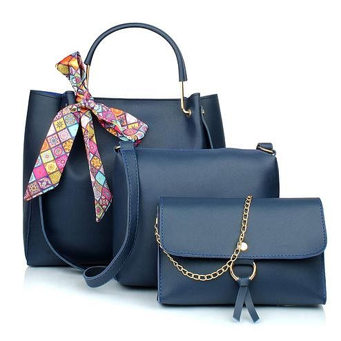 TMN Blue Combo Of Handbag With Sling Bag And Golden Chain Bag