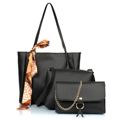 TMN Black Combo Of Handbag With Sling Bag And Golden Chain Bag