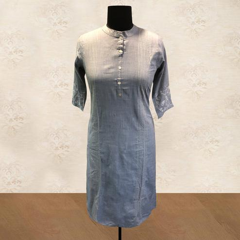 Blooming Grey Colored Casual Wear Embroidered Rayon Kurti