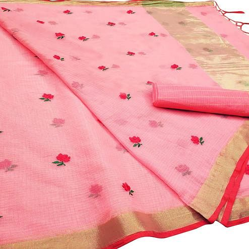 Classy Peach Colored Party Wear Floral Embroidered Silk Saree With Tassels