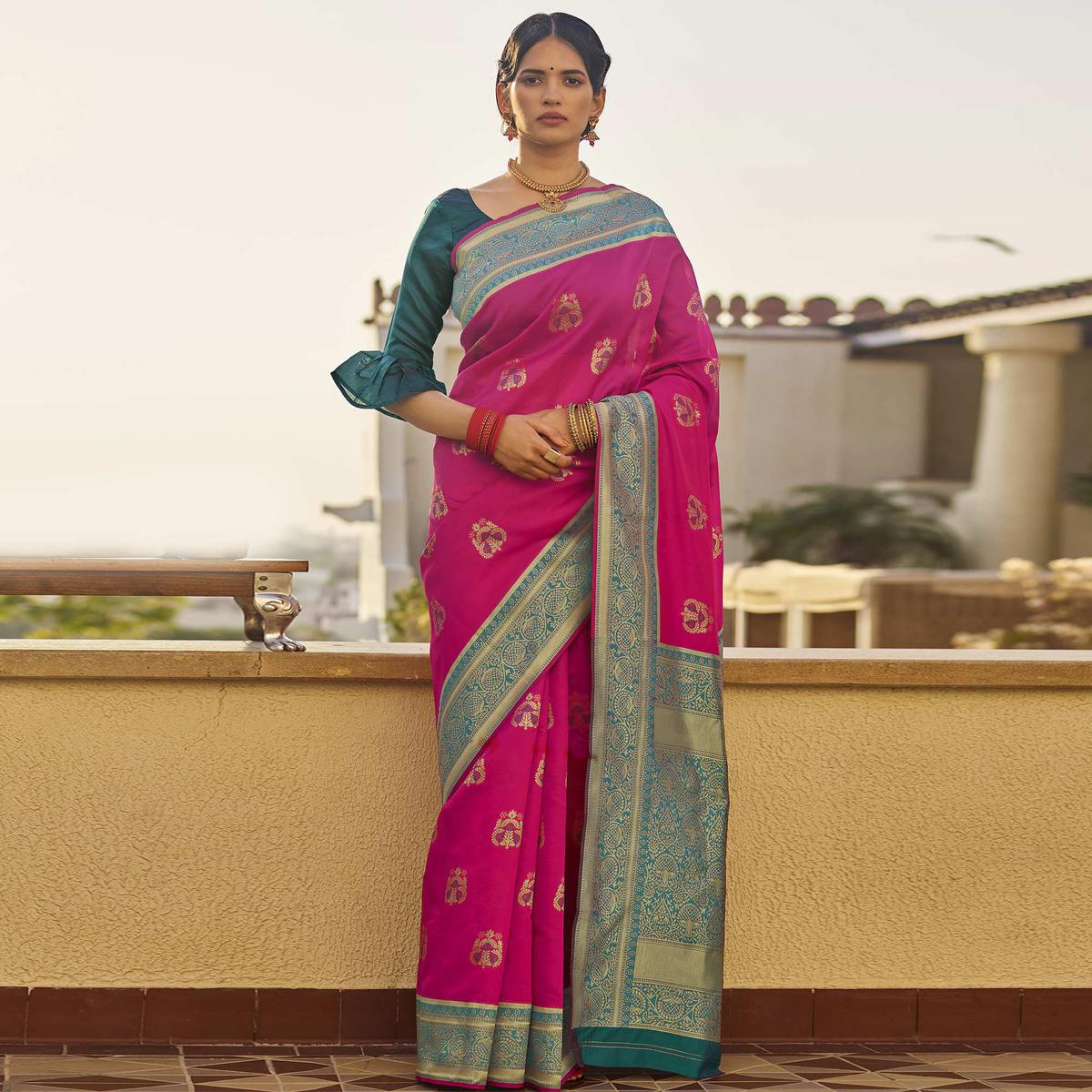 Glorious PInk Colored Festive Wear Woven Silk Saree