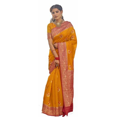 Graceful Mustard Yellow Colored Festive Wear Woven Silk Saree