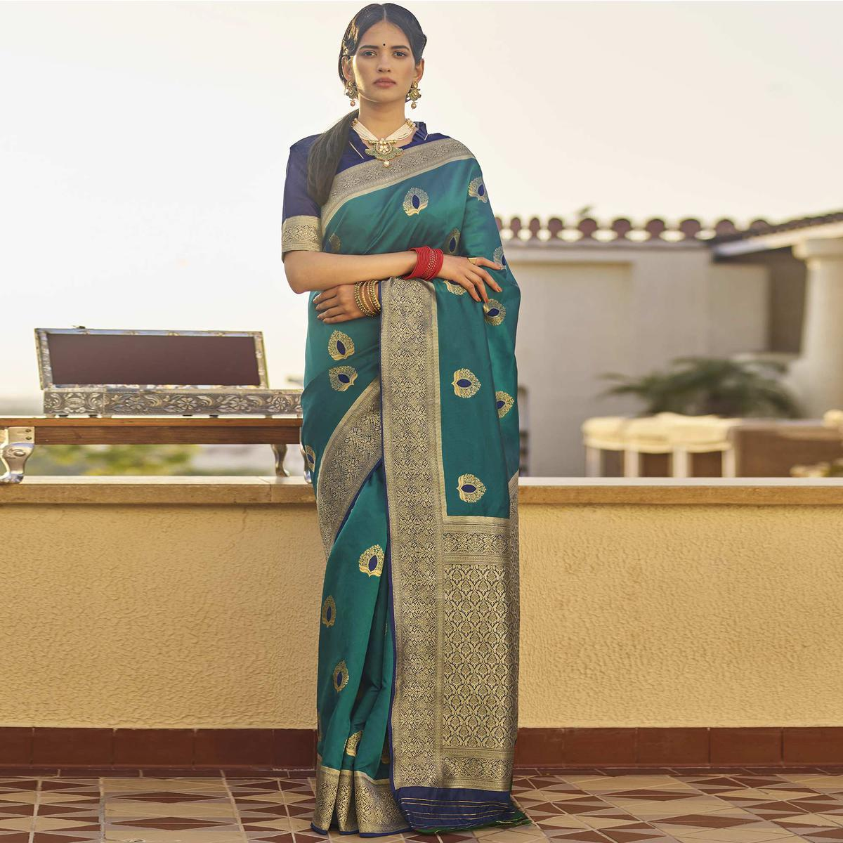 Blooming Teal Green Colored Festive Wear Woven Silk Saree