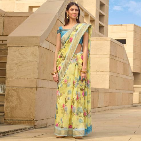 Charming Yellow Colored Casual Wear Floral Digital Printed Linen Cotton Saree