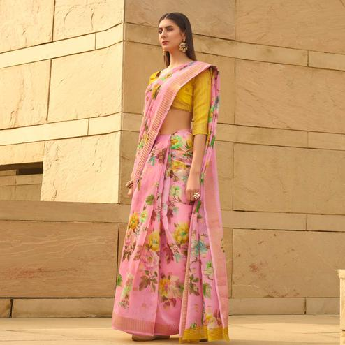 Jazzy Pink Colored Casual Wear Floral Digital Printed Linen Cotton Saree
