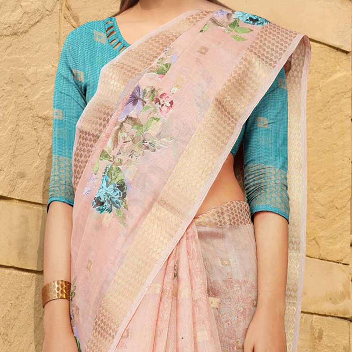 Delightful Pink Colored Casual Wear Floral Digital Printed Linen Cotton Saree