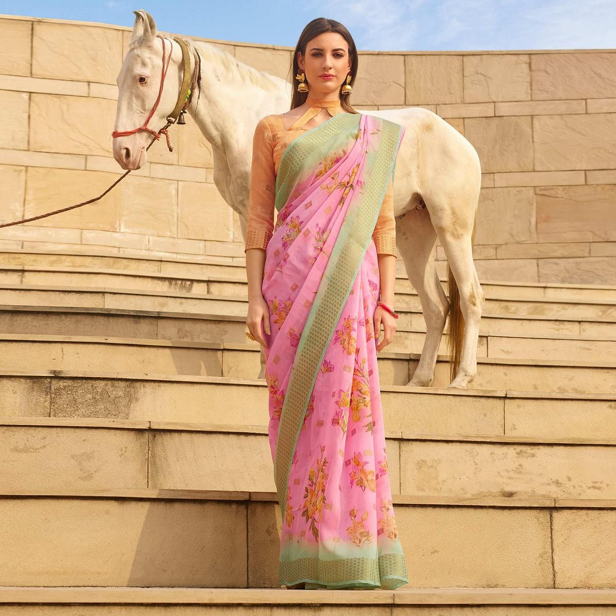 Engrossing Pink Colored Casual Wear Floral Digital Printed Linen Cotton Saree