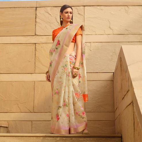 Captivating Beige Colored Casual Wear Floral Digital Printed Linen Cotton Saree