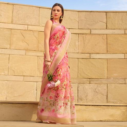Innovative Pink Colored Casual Wear Floral Digital Printed Linen Cotton Saree
