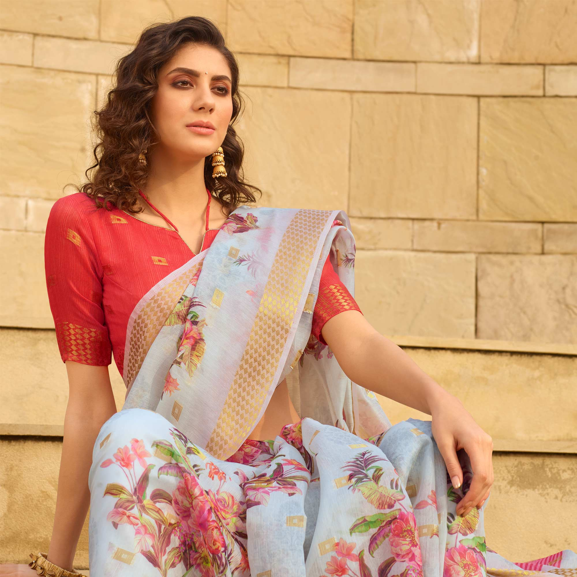 Eye-catching Blue Colored Casual Wear Floral Digital Printed Linen Cotton Saree