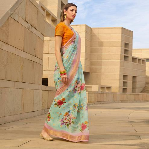 Amazing Blue Colored Casual Wear Floral Digital Printed Linen Cotton Saree