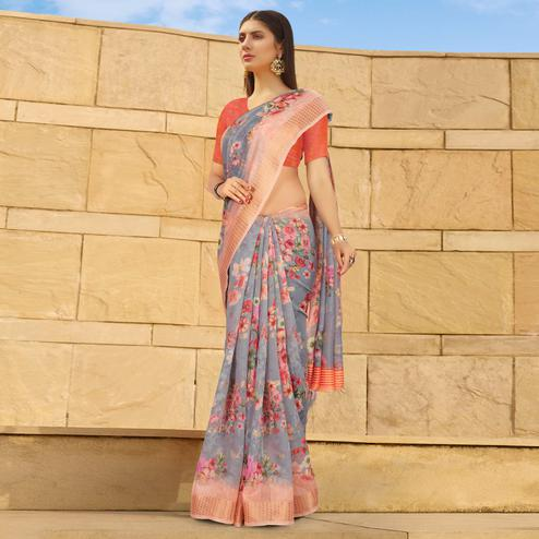 Blissful Grey Colored Casual Wear Floral Digital Printed Linen Cotton Saree