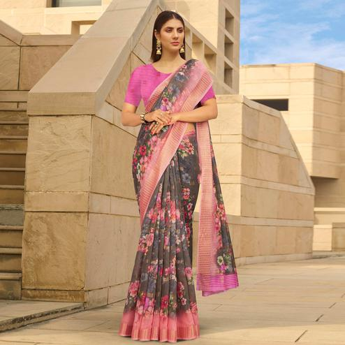 Ideal Grey Colored Casual Wear Floral Digital Printed Linen Cotton Saree