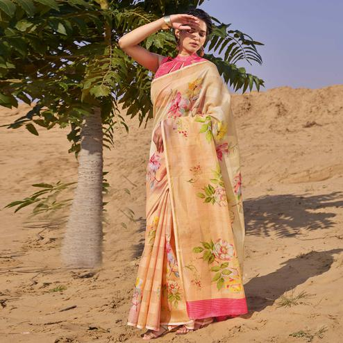 Imposing Peach Colored Casual Wear Floral Digital Printed Linen Cotton Saree