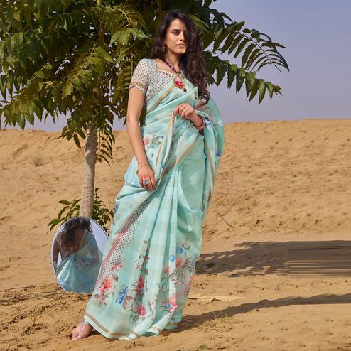 Lovely Blue Colored Casual Wear Floral Digital Printed Linen Cotton Saree