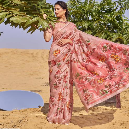 Impressive Pink Colored Casual Wear Floral Digital Printed Linen Cotton Saree