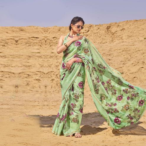 Mesmerising Green Colored Casual Wear Floral Digital Printed Linen Cotton Saree