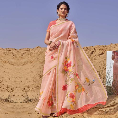 Pleasance Pink Colored Casual Wear Floral Digital Printed Linen Cotton Saree