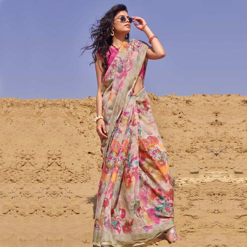 Breathtaking Multi Colored Casual Wear Floral Digital Printed Linen Cotton Saree