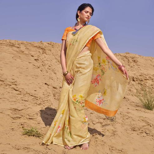 Ethnic Beige Colored Casual Wear Floral Digital Printed Linen Cotton Saree