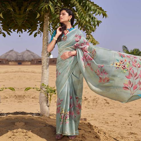 Ravishing Grey Colored Casual Wear Floral Digital Printed Linen Cotton Saree